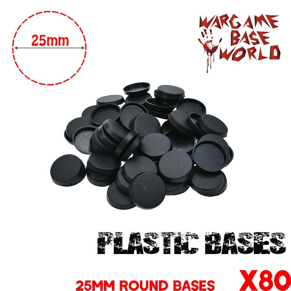 Gaming Miniatures Bases 80pcs  25mm Round Plastic Bases
