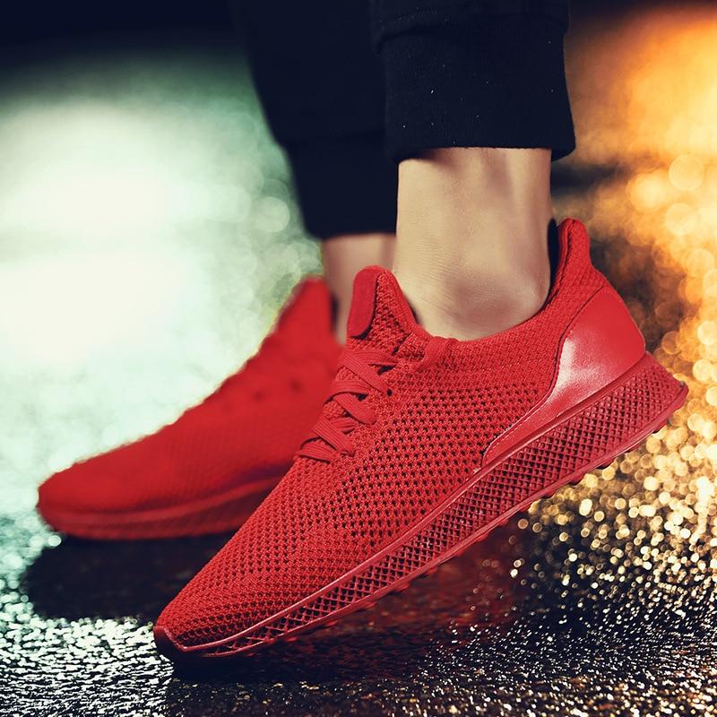 Mode Automne Lacets Concise Solide Profonde Air Vulcaniser Décontractées Respirant Printemps Sneakers gris Bas Peu Hommes Mesh rouge Chaussures À De Noir PqpO5q