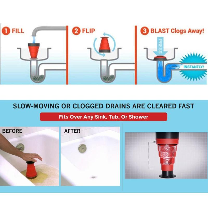 Manual Clog Cannon High Pressure Drain Blaster And Sink Plunger For Toilets And Cleaner Pump Tool