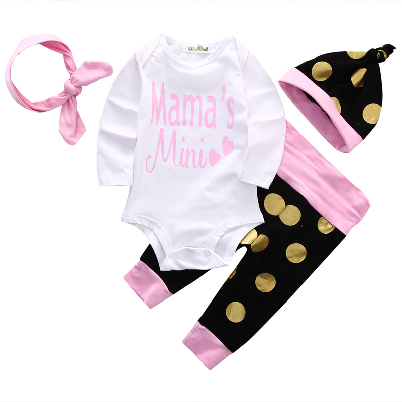 New Casual Newborn Baby Girls Clothes Set Long Sleeve O-Neck T-shirt Romper+Pants+Hat+Headband 4PCS Outfits Clothes Set