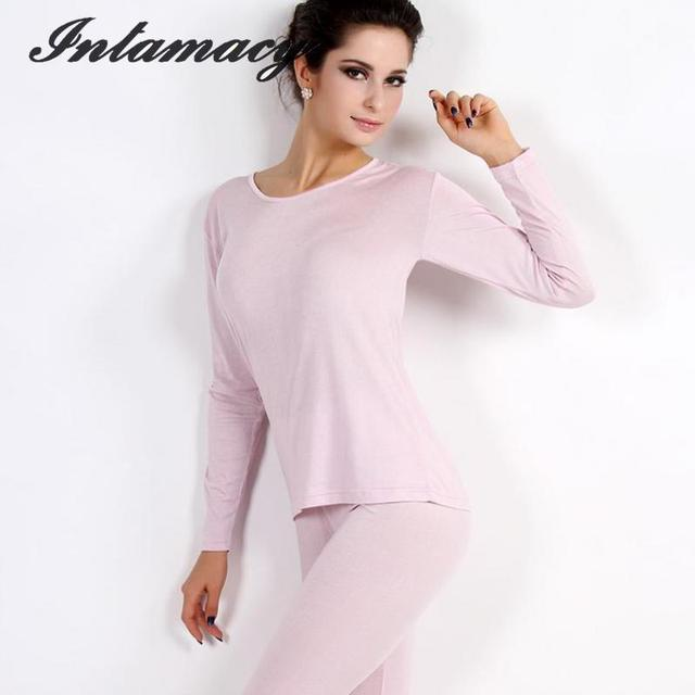 100% real  Silk knitting Female Thermal Underwear Sets – Thin Clothes Kuanqiu Long Johns Warm Suit , underwear suits