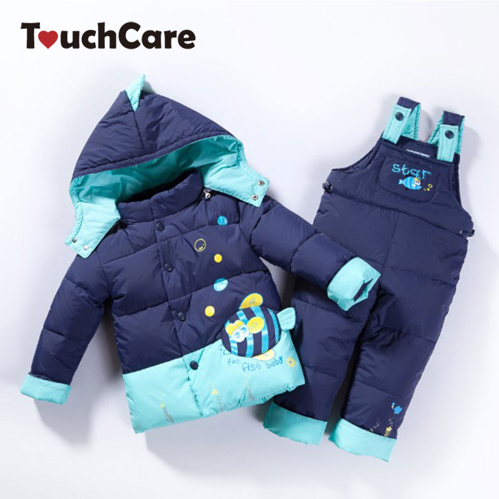 TouchCare Winter Children White Duck Down Jacket Pants Clothing Set Girls Baby Coat Suspender Trousers thicken Ski Suit Overalls 2016 winter boys ski suit set children s snowsuit for baby girl snow overalls ntural fur down jackets trousers clothing sets
