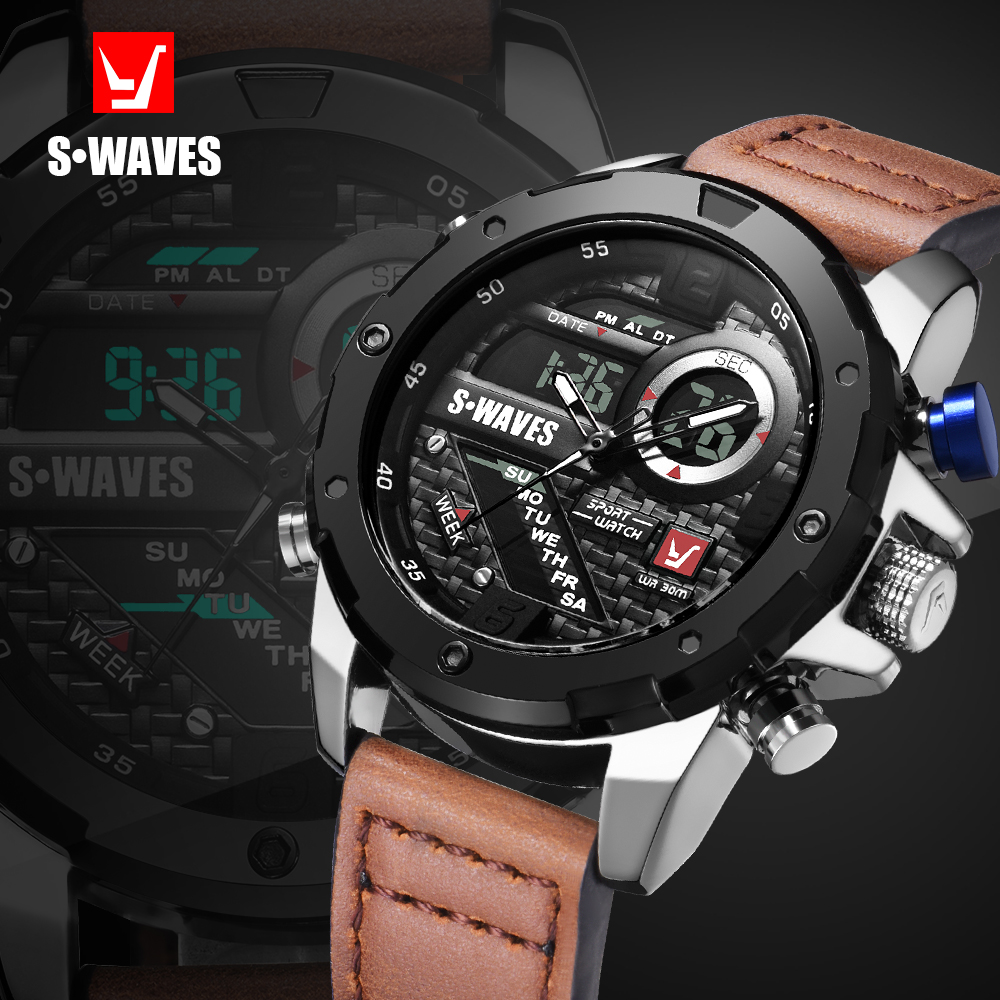 SWAVES Brand Dual Display Watch Waches Water Resistant LCD Digital Wristwatches Leather Band Quartz Men Clock Relogio Masculino