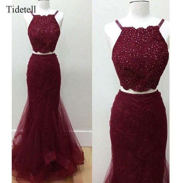 18b65332c1e 2 Piece Prom Dresses Spaghetti Strap Floor-Length Burgundy Prom Dresses  Long Elegant Prom Dresses Sparkling Tulle Evening Dress