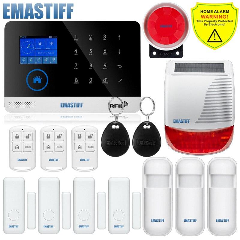 Freies verschiffen. neueste Wireless Home Sicherheit WIFI GSM SIM karte EN RU ES PL DE Schaltbare Alarm system APP RFID Fernbedienung