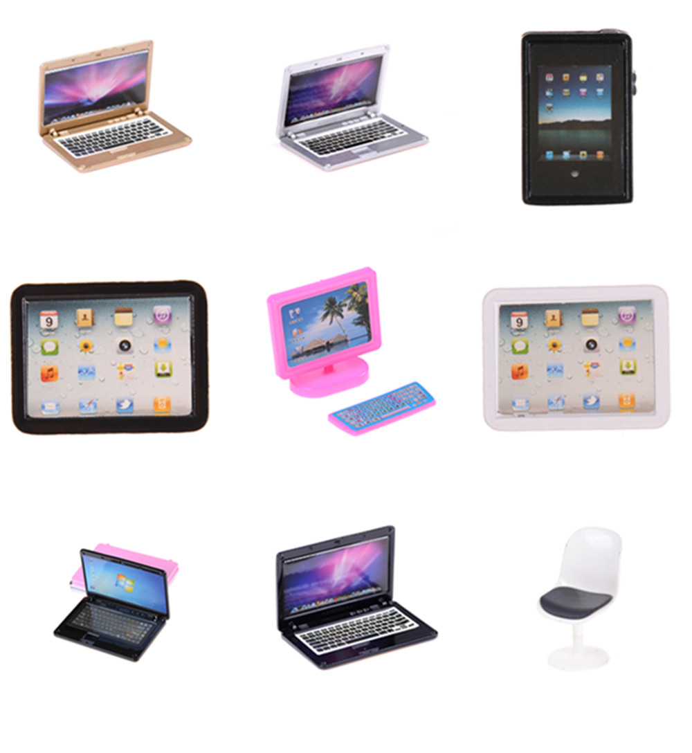 1:12 Scale Laptop Computer Chair Toy Doll Furniture Miniature Accessories Children Toy