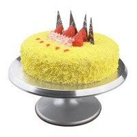 1 יחידות צלחת מסתובבת עוגת סגסוגת אלומיניום עוגת פטיפון קישוט Stand פלטפורמה מסתובבת פטיפון אפיית כלים