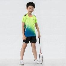 Комплект для бадминтона для мальчиков, быстросохнущие детские для тенниса, Детская кофта для бадминтона, Настольная футболка для тенниса, Спортивная футболка