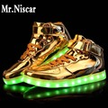 6 Style Led Shoes 2016 Fashion Light Men High-Quality Casual Shoes Outdoor Travel Dance LED USB Shoes Big size 35-46