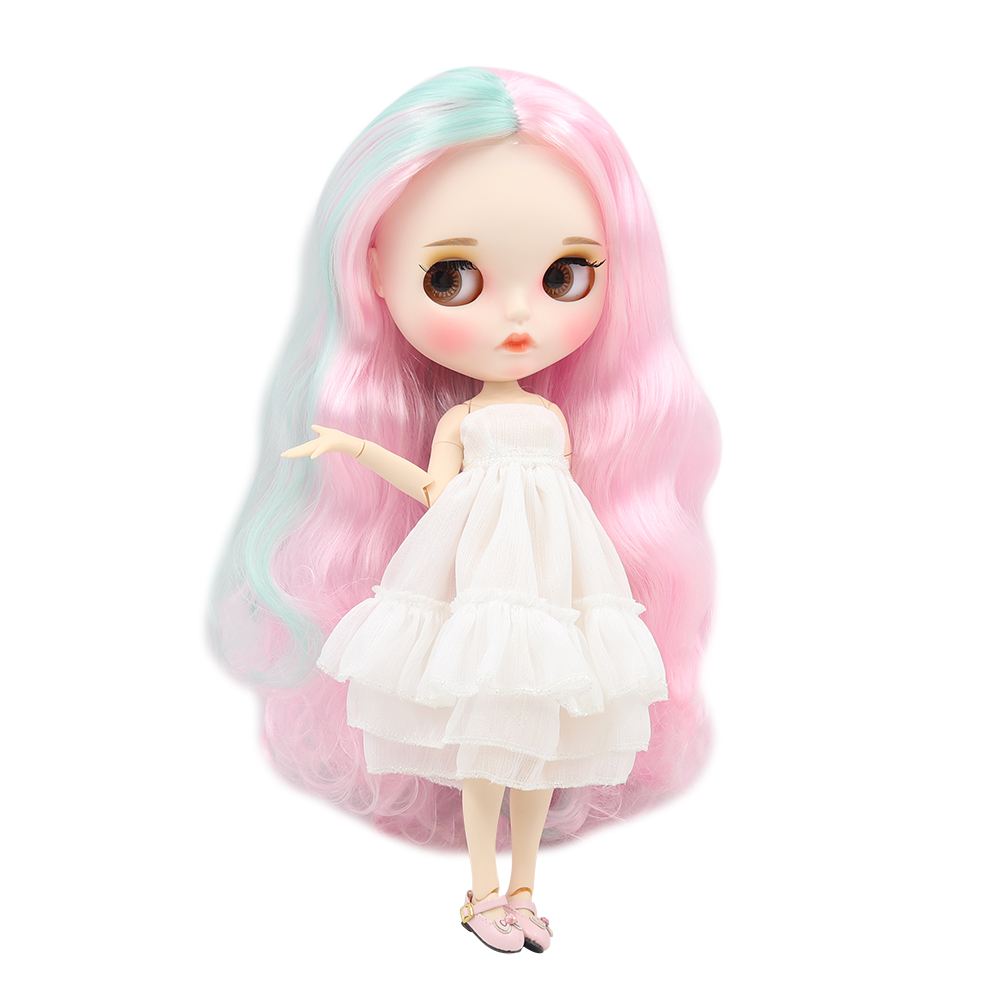 Blyth nude doll white skin Fresh light green with pink curls 1 6 JOINT body new