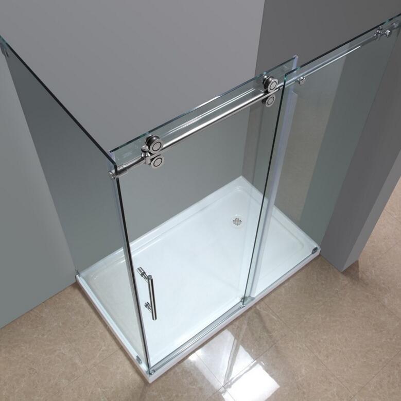 5ft 66ft rectangle 90 degre bypass frameless sliding glass shower door twin roller barn shower door return panel hardware kit