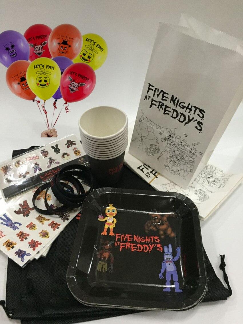 «Five Nights at Freddy's», «пять ночей бумажный стаканчик, тарелка и наклейки для временных татуировок воздушные шары браслет-игрушка День рождения п...
