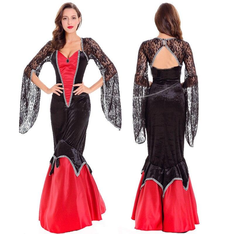 De luxe Chaude Halloween Nouveau Fantôme Mariée Gothique Robe Partie Carnaval Sexy Adulte Reine Cosplay Sirène Queue Nouveau