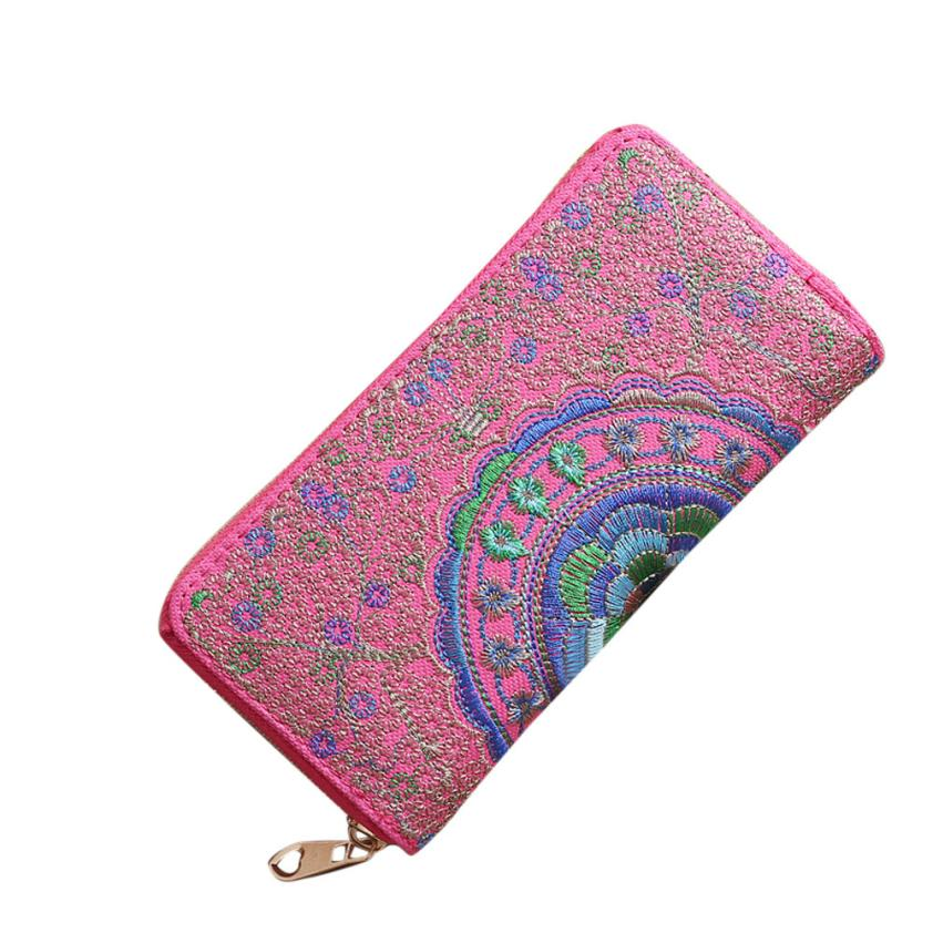 Fashion Women Oxford Embroidery Road Wallet Coin Bag Purse Phone Bag Lady Long Purse Wholesale Drop Shipping #Y 5