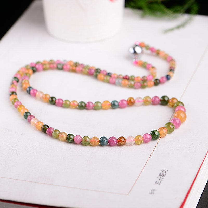 6 Styles Handmade Authentic Tourmaline Beads Necklace Natural Crystal Unisex