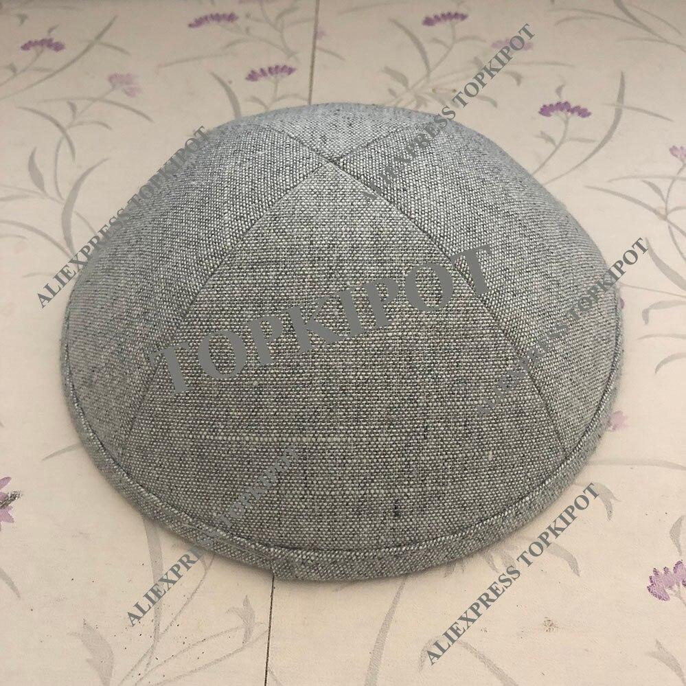 Light grey heavy linen kipa kippa kippah kippot yarmuke yarmulke for wedding