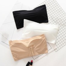 New One-Piece Bra Seamless Ice Silk Tube Top Solid Color Wire Free Airy Lingerie Strethy Underwear(China)