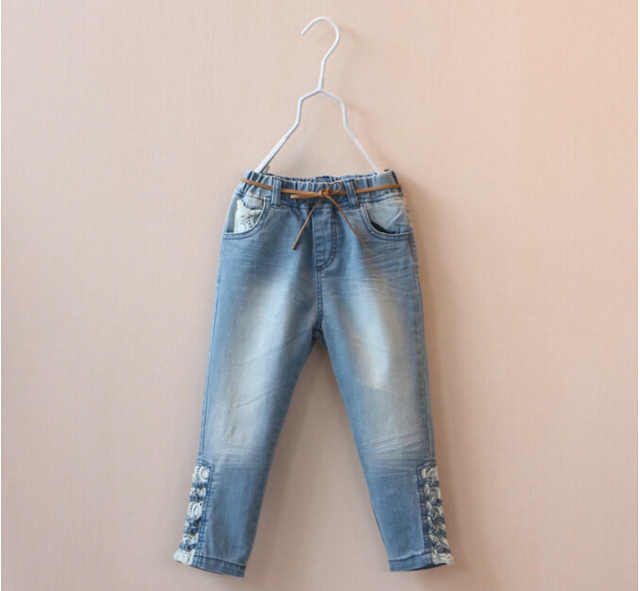 142f8e237b418 2015 new 2~7Y girls jeans distressed faded kids girl denim pants brand  fashion design trousers with leather belt