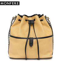 MONFERE Luxury Brand Genuine Italian Leather Drawstring Hasp Bucket Bag Hollow Out String Fashion Girls Shoulder&Cross body Bag
