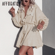 Vintage elagant women mini shirt dress