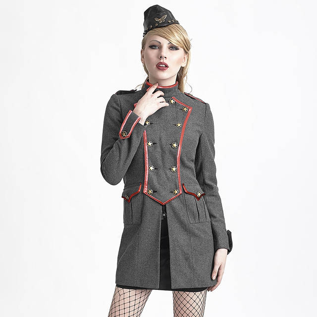 07942bfce79 Steampunk Military Uniform Long Coats for Women Sexy Army Cosplay Clothing  Jackets with Star Decorated Black