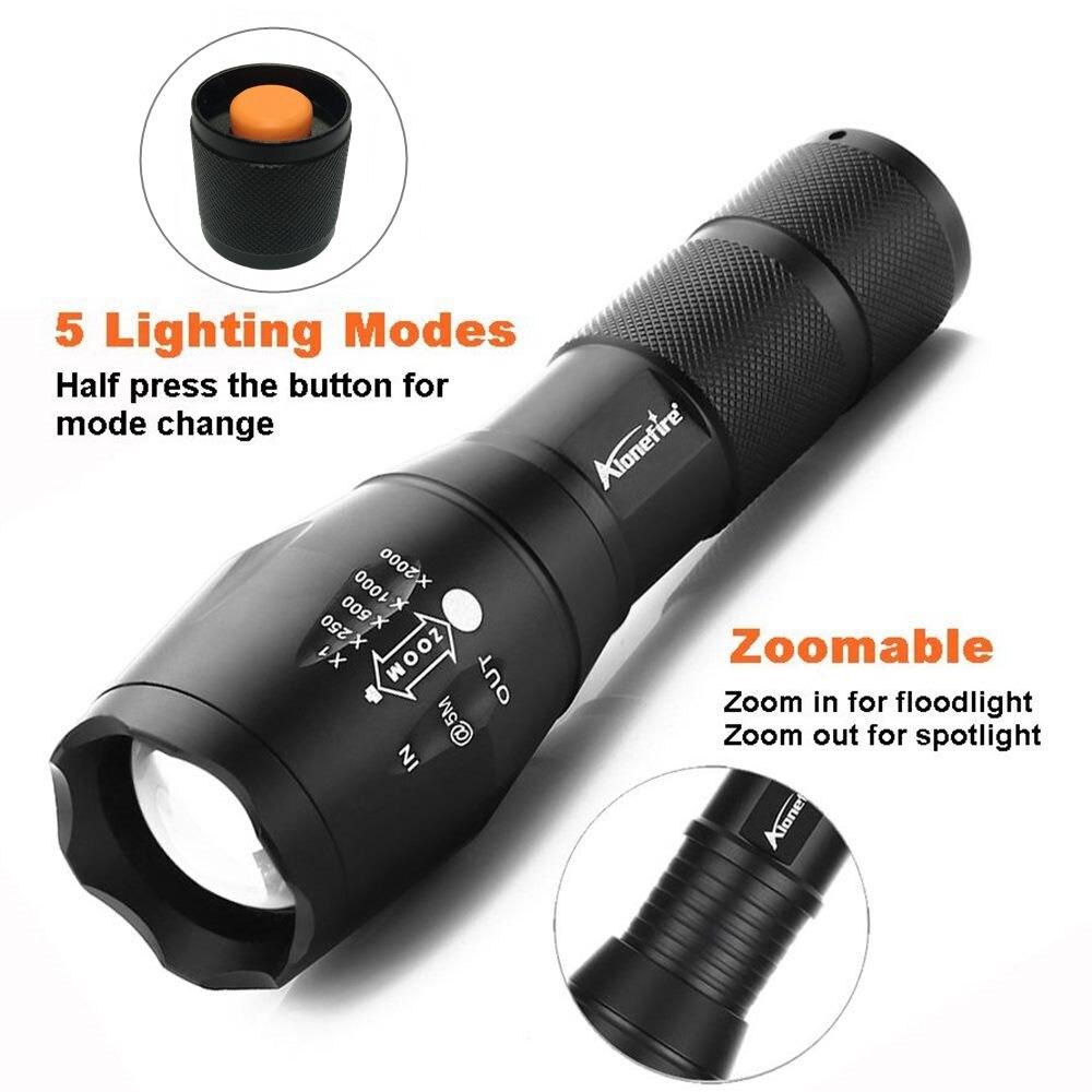 LED flashlight Tactical Flashlight 8000Lumens CREE XM-T6/L2 Zoomable 5 Modes aluminum Lanterna LED Torch Flashlights For Camping