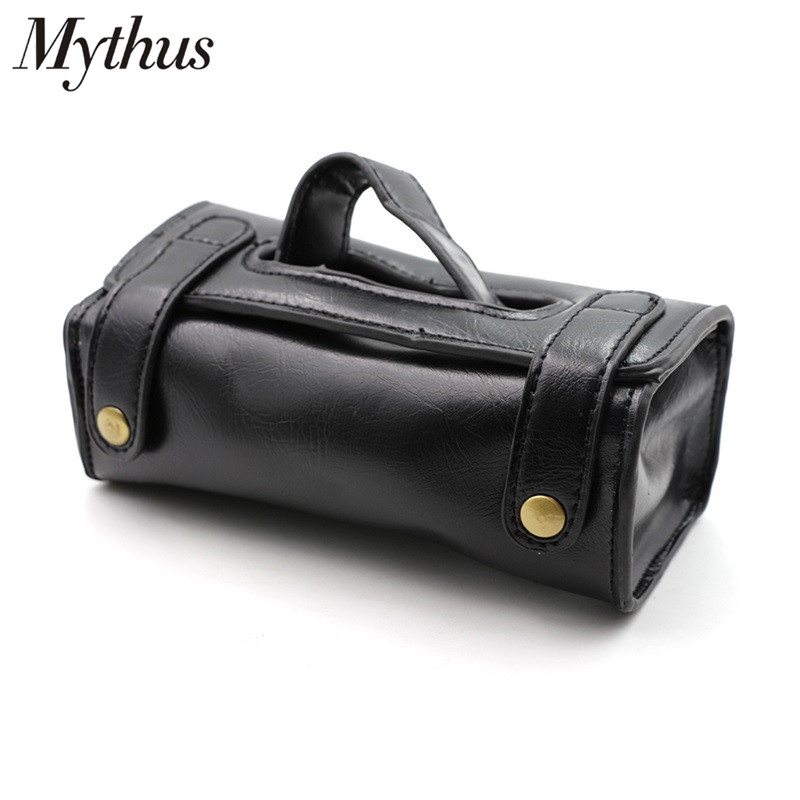 Mythus PU Leather Shaving Toiletry Bag Black Portable Pouch Wash Case Shave Tools Organizer Cosmetic Bag Men Leather Shaving Bag