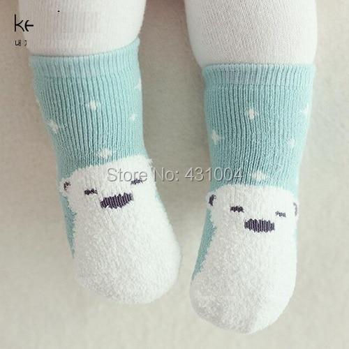 Kacakid Winter baby socks boys girls snow terry socks baby coral velvet anti slip kids cute resistant socks 2pairs/lot