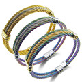Brand Stainless Steel Cable Wire Bangle For Women Men Punk Gold Plated Adjustable Chain Wristband Bracelets&Bangles Male Jewelry