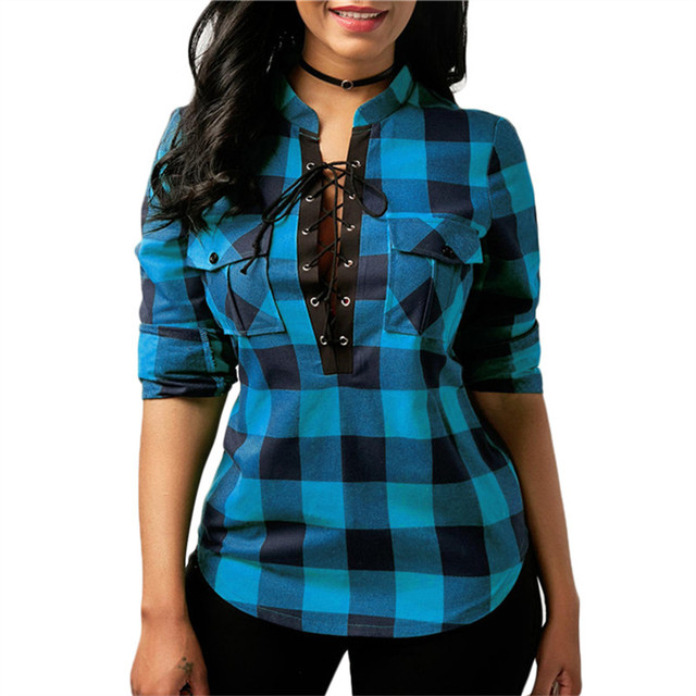 Plus Size Cotton Lace Up Casual Tops
