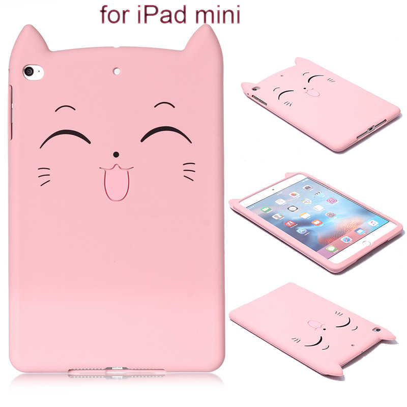 "Voor ipad mini 2 3 4 siliconen case ipad mini mini2 mini3 cartoon Zachte TPU Anti Klop Cover Shell fundas voor ipad mini 7.9 ""tablet"