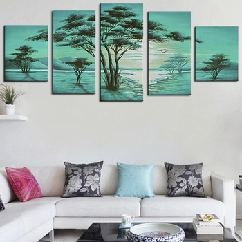 Modern Calligraphy Home Wall Pictures Green Tree Landscape Oil Paintings on Canvas Frameless 5 Panel Handmade Handicraft Works