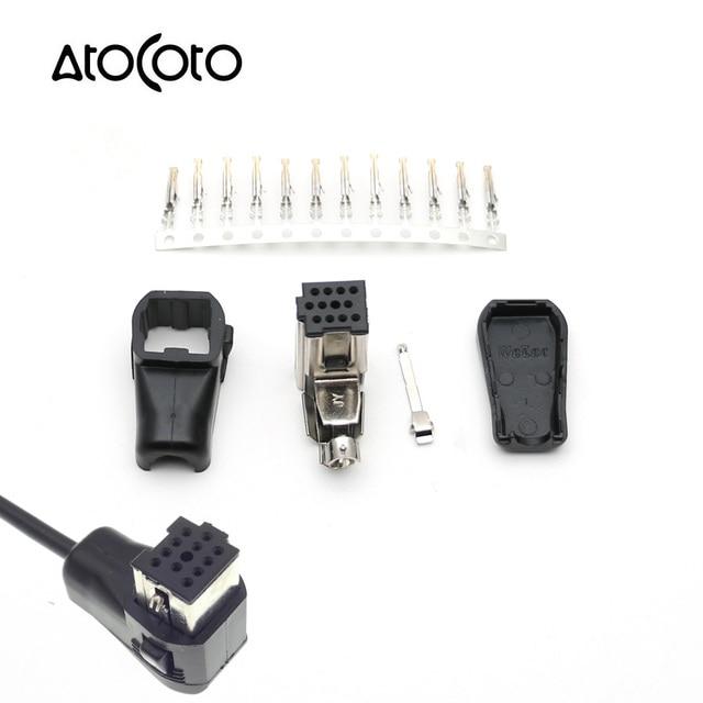 파이 오니 아 헤드 유닛 CD/라디오 IP BUS 소켓 용 12 핀이있는 AtoCoto 오디오 입력 AUX 플러그 수정 된 DIY 어셈블리 커넥터