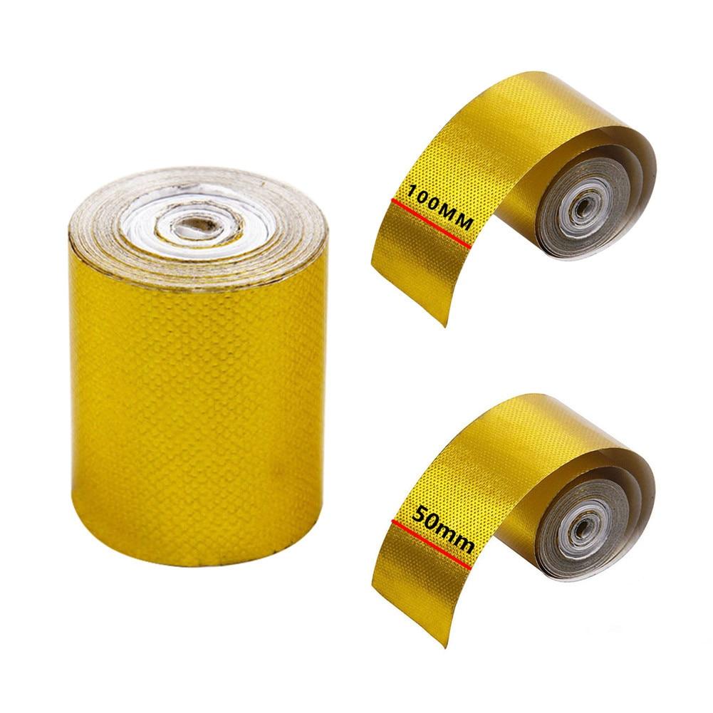 Exhaust Heat Wrap >> 5*500 cm 10*500 cm Aluminum Foil Tape Automotive Exhaust Pipe Decorative Tape Gold Heat Shield ...