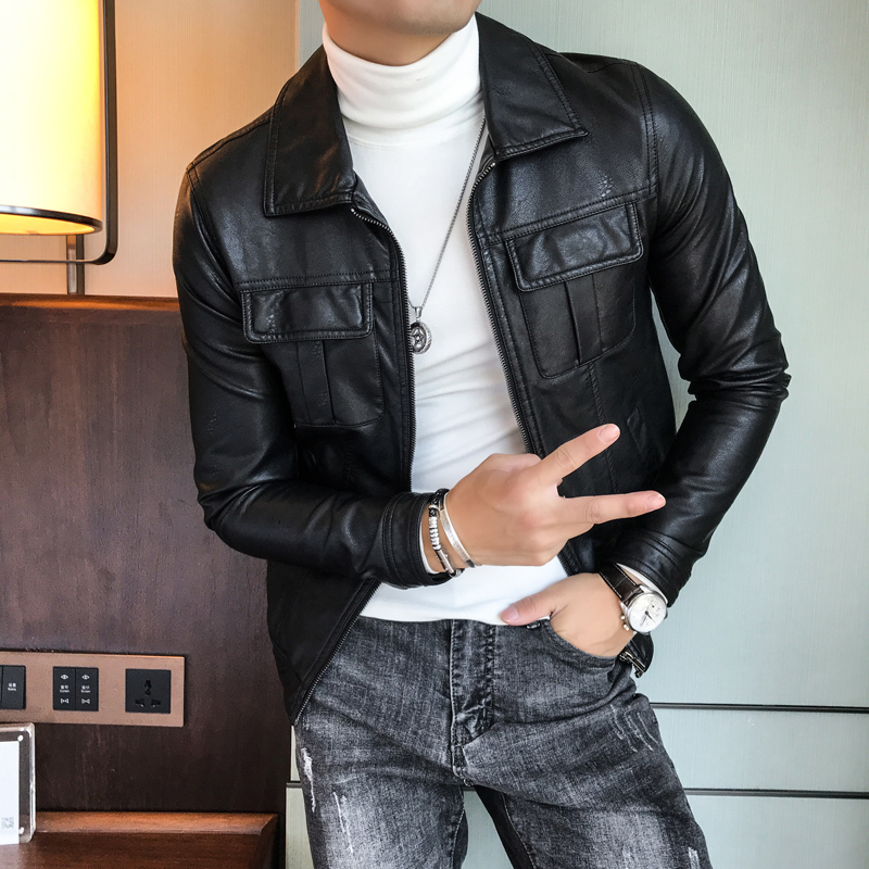 Leather Jackets Mens Green Motorcycle Jackets Mens Deri Ceket 2018 Fashion Mens Leather Jacket Slim Fit Chaqueta Marron Hombre