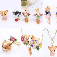 Frankreich Dyxytwe Emaille Glasur Chihuahua Schmuck Sets Halskette Ring Frauen Ohrringbolzen