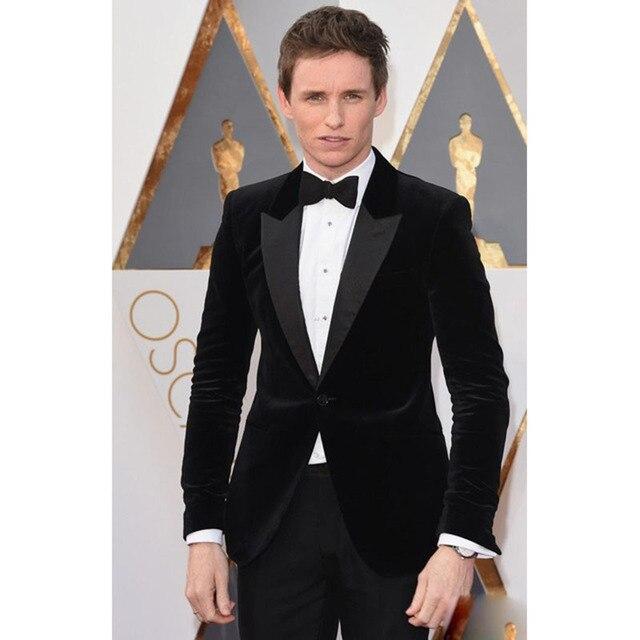 2017 Oscar One Button Black Velvet Groom men suit Tuxedos Groomsmen ...
