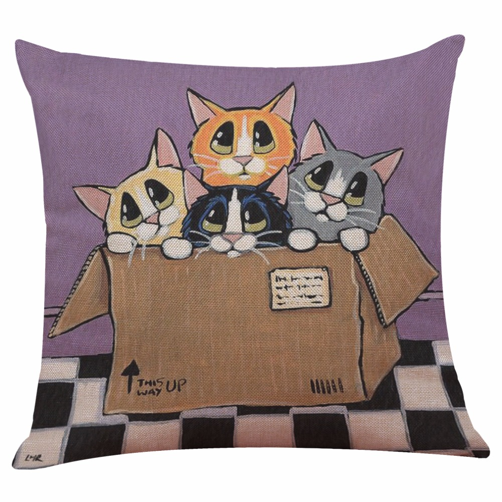 Pillowcase Cute Naughty Cat  Pattern Print Pillow Cover Polyester And Linen Single-sided Printing  Pillow Case 45x45 Cm Cojines