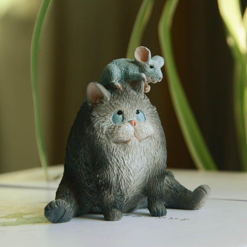 Resin Cartoon Creative Black Cat and Mouse Desktop Decor Fairy Garden Statue Home Decoration Accessories Modern Animal Figurine