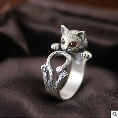 2016 ново пристигане високо качество ретро стил сладка котка тайландски сребро 925 стерлинги сребърни дамски`регулируем размер пръстени бижута подарък
