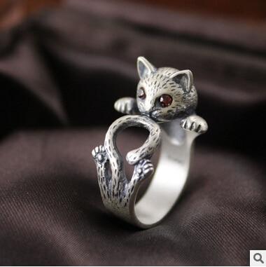 2016 novi dolazak visoke kvalitete retro stilu slatka mačka Tajlandski srebro 925 sterling srebra dame`adjustable veličina prstenje nakit dar