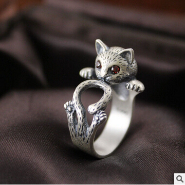 2016 new arrival high quality retro style cute cat Thai silver 925 sterling silv