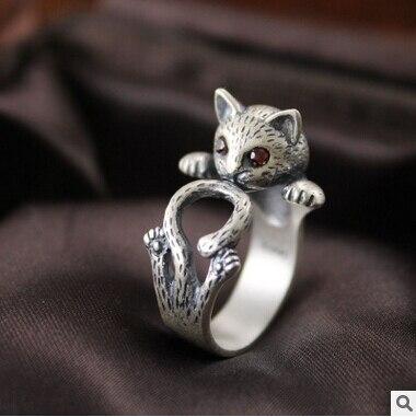 2016 novos chegada da alta qualidade retro estilo bonito do gato de prata Thai 925 prata esterlina tamanho ladies'adjustable anéis de presente da jóia