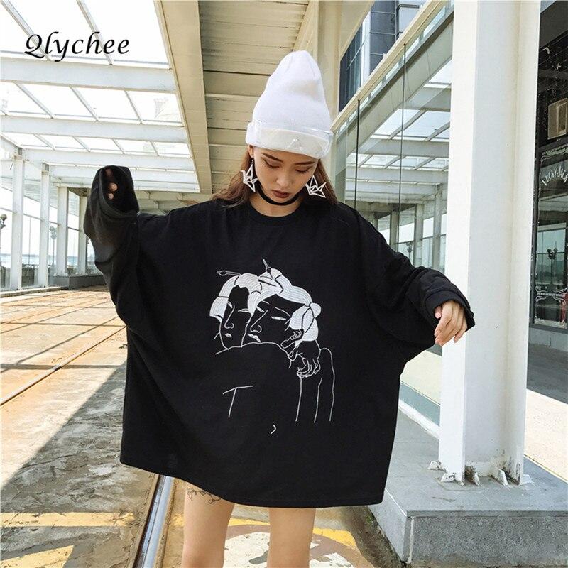 Qlychee Streetwear Ukiyoe Character Embroidery hoodies Sweatshirt Women Pullover Tops Long Sleeve Loose Sweatshirts Oversize