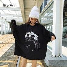 Qlychee уличная ukiyoe характер Вышивка толстовки Для женщин пуловер Топы корректирующие с длинным рукавом Свободные Кофты oversize
