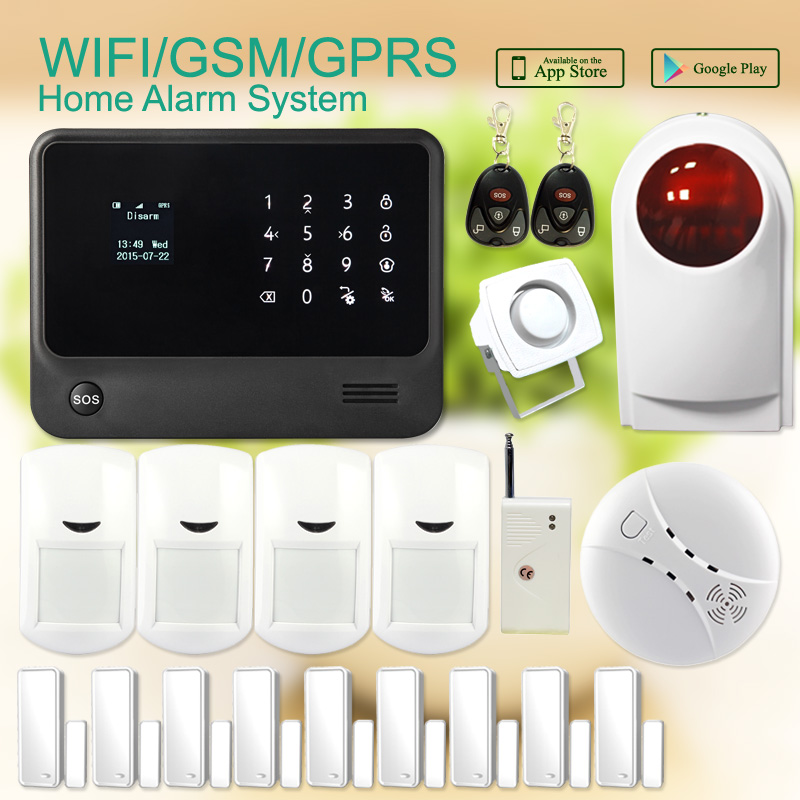 433mhz G90B home security wireless gprs gsm wifi alarm system with wireless stobe siren,vibration sensor APP control 99 wireless zone 433mhz app remote control gsm gprs alarm system