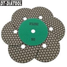 Tampons de polissage à sec diamant, 7 pièces, 125mm #50 Premium, disques de ponçage flexibles de 5 pouces de diamètre pour résine collante pour meuleuse d'angle