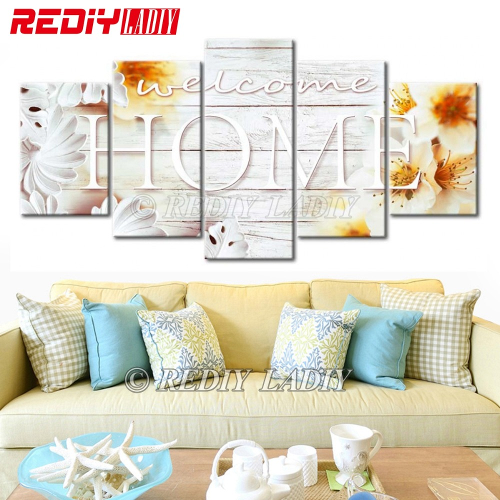 REDIY LADIY Diamond Embroidery Triptych Welcome Home 5 Panels Modular Picture 5D Diamond Painting Cross Stitch