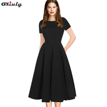Oxiuly Vintage Summer Dress Elegant Party Black A-line Style Women Short Sleeve Rockabilly Vestidos