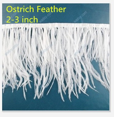 1 Yard  White Ostrich Feather Trim Fringe  2-3'' Height AE00346-1
